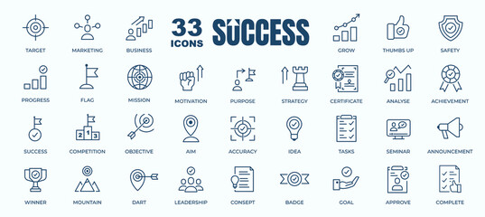 Obraz Simple Set of Success, Goals and Target Related Vector Line Icons. Contains thin Icons as Achievement, Aim, Motivation and more. Editable Stroke. 48x48 Pixel Perfect - fototapety do salonu