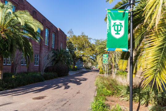 Tulane University logo on banners on campus in New Orleans, LA
