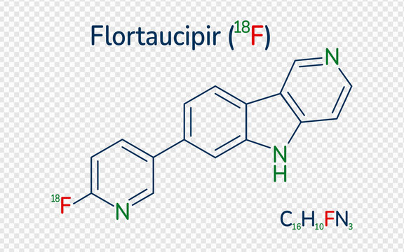 Flortaucipir 18 F skeletal formula vector illustration. Molecular structure radioactive diagnostic agent. Can use for tau pathology, Alzheimer's disease, health, medical, and scientific designs.