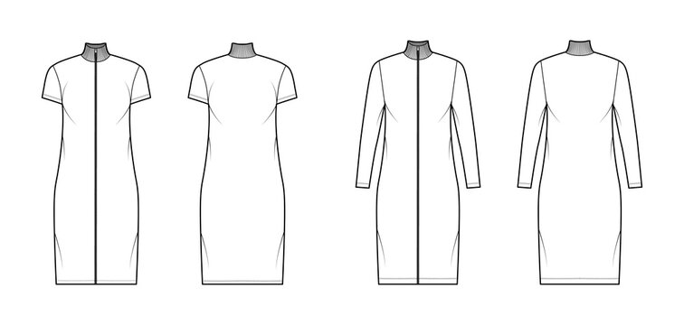 Turtleneck zip-up dress technical fashion illustration with long, short sleeves, knee length, oversized body, Pencil fullness. Flat apparel template front, back, white color. Women, unisex CAD mockup