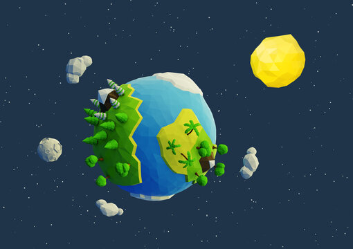 blue green yellow white planet with sun low poly 3d render