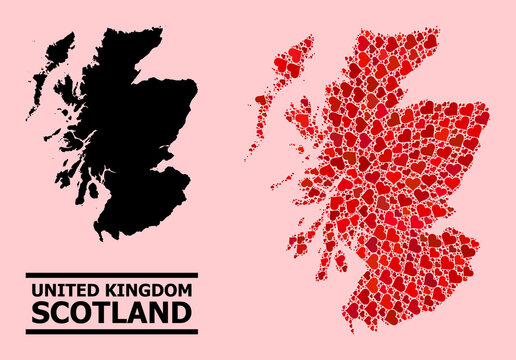 Love mosaic and solid map of Scotland on a pink background. Mosaic map of Scotland designed with red lovely hearts. Vector flat illustration for love abstract illustrations.