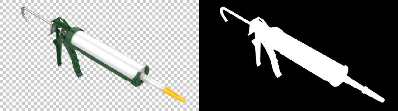 Caulk gun isolated on background with mask. 3d rendering - illustration