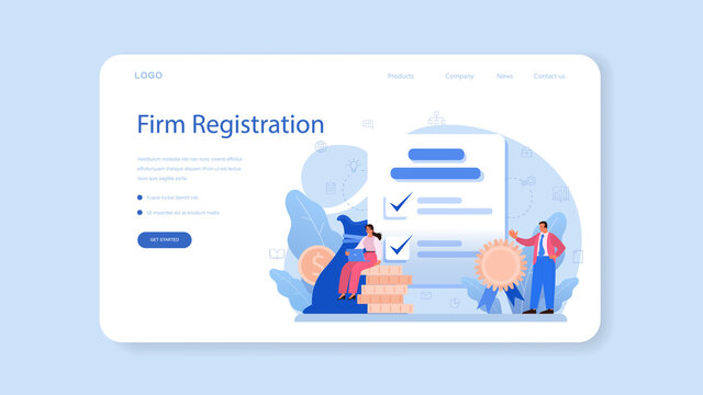New company registration web banner or landing page