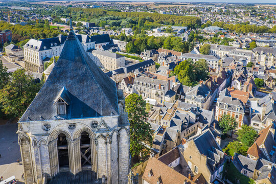 View on the medieval city of Bourges from the roof of the cathedral of Bourges (Berry, France), a gothic wonder listed as a UNESCO world heritage site
