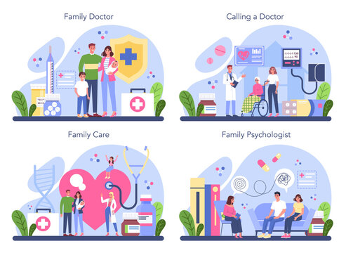 Family doctor concept set. Healthcare, modern medicine treatment,