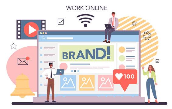 Social media online service or platform. Internet communication