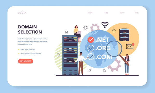 Domain selection web banner or landing page. Support and development