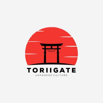 japanese sunset torii gate icon logo vector illustration design