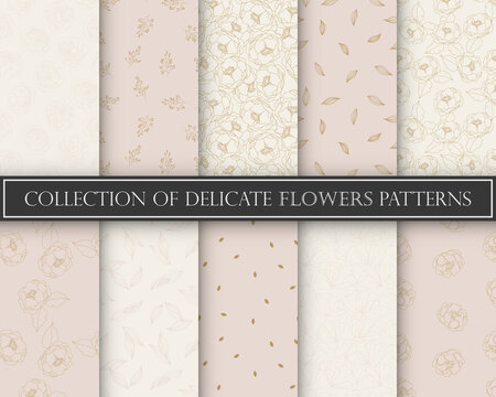 10 Different flower vector seamless patterns. Romantic chic floral textures can be used for printing onto fabric and paper or scrap booking. Pink, white and gold colors. For baby, girl and woman.
