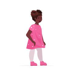 Wall Mural - beautiful african american girl cute child standing pose female cartoon character full length vector illustration