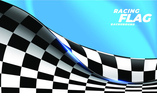 Checkered flag flying on blue background. Car race or motorsport rally flag. 3D wavy pattern background of racing sport, bike or motocross competition, championship design.Vector illustration