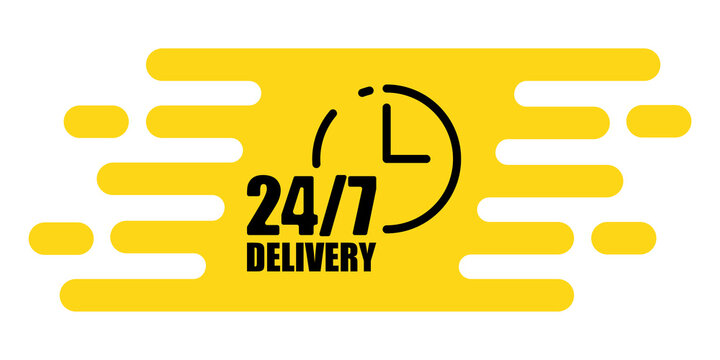 Delivery 24 7. Clock icon vector. Line symbol. Information icon vector. Vector illustration. Stock image. EPS 10.