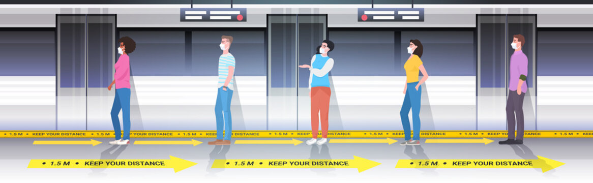 mix race subway passengers in protective masks keeping distance to prevent coronavirus in public transport social distancing concept horizontal full length vector illustration