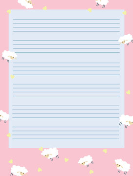 Pink heart with white sheep printable planner, organizer. hand-drawn notes, to-do, and to-buy list.