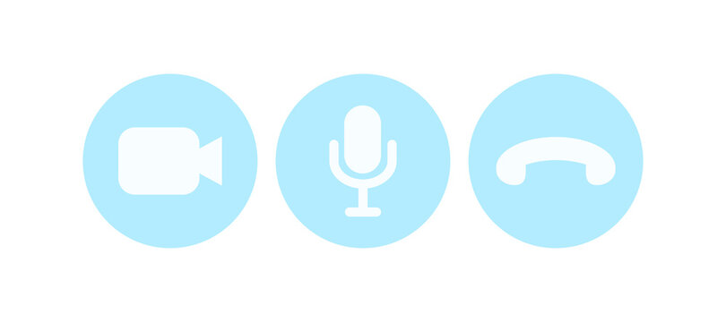 Virtual hangouts icons for conference call. Video, sound and call icons isolated on white background. Flat vector illustration