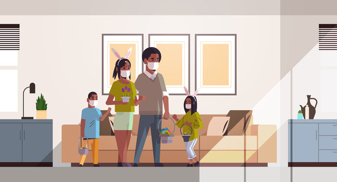 family holding baskets with eggs celebrating happy easter holiday african american parents and children wearing mask to prevent coronavirus living room interior horizontal full length vector