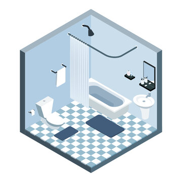vector isometric interior room, Bathroom, bath shower cabin cubicle toilet, Home furniture.