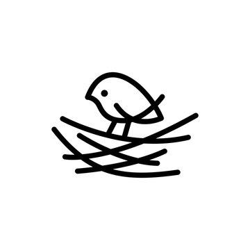 little bird nest line monoline logo vector icon illustration