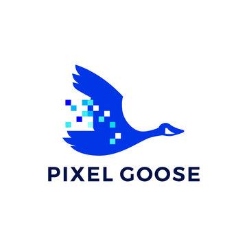 pixel goose technology digital logo vector icon illustration