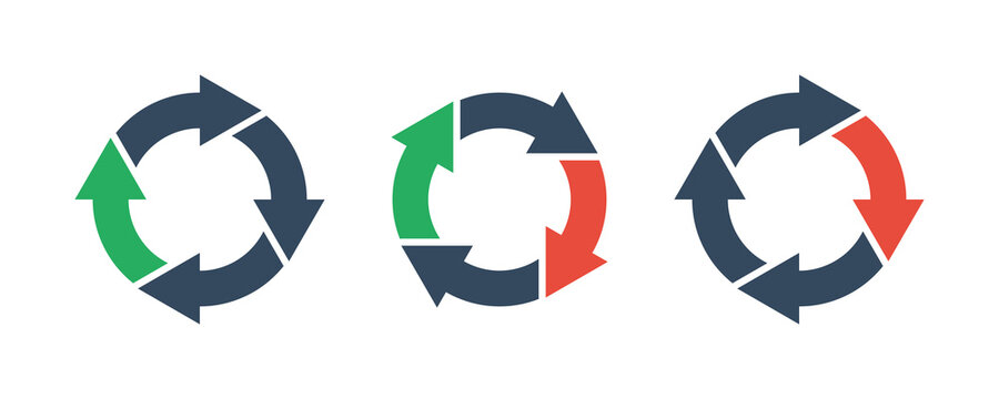 four round arrows set, vector icon