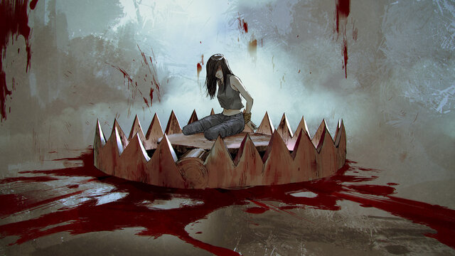 female victim sitting on a bear trap with bloodstains, digital art style, illustration painting