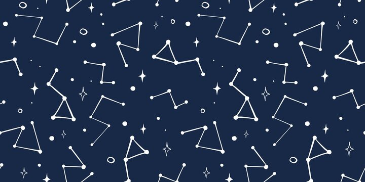 Trendy seamless space patterns. Cosmos backgrounds for cosmonautics day. Endless texture of universe for wallpaper, wrapping paper