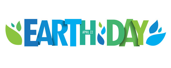 EARTH DAY - APRIL 22 green vector typography banner with leaves isolated on white background