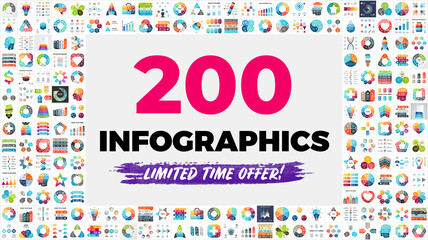 The Biggest Infographics Bundle Ever - includes 200 presentation templates, such as diagrams, charts, timelines, arrows, puzzle elements etc.