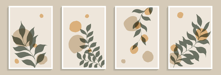 Set of creative minimalist hand draw illustrations green leaves and pastel simple shape for wall decoration, postcard or brochure cover design, poster