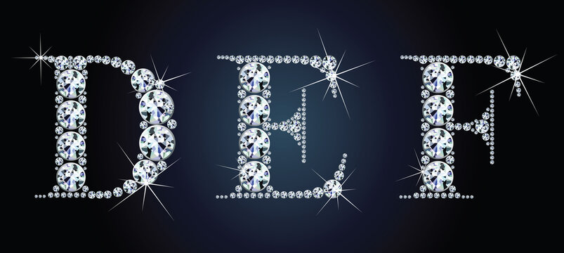 Diamond alphabet letters. Stunning beautiful DEF jewelry set in gems and silver. Vector eps10 illustration.