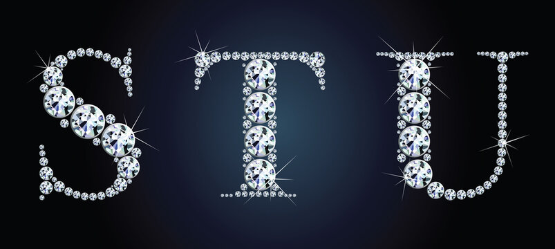 Diamond alphabet letters. Stunning beautiful S, T, U, jewelry set in gems and silver. Vector eps10 illustration.
