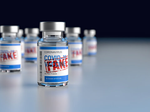 Fake drugs, pharmaceutical fake package. Symbol for harmful counterfeit vaccine, risk and danger of illegal produced and sold pharmaceuticals. 3d render