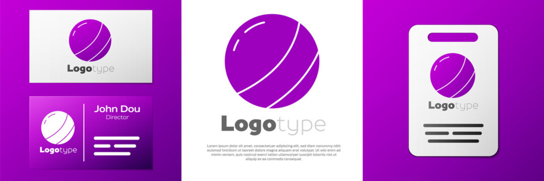 Logotype Beach ball icon isolated on white background. Children toy. Logo design template element. Vector.