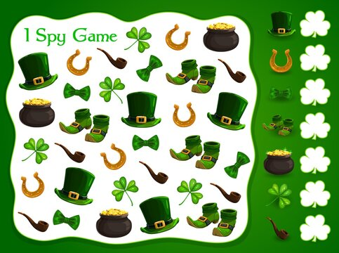 I spy kids game with st Patrick day vector elements. Development of numeracy skills and attention, cartoon riddle page. Math worksheet for kindergarten, school, preschool children, educational puzzle