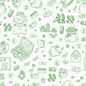 Financial and Business symbols. Hand drawn Doodles Money - Vector Seamless pattern