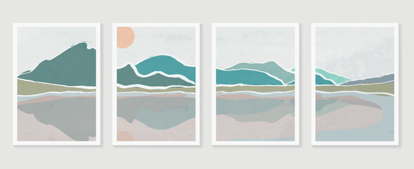 Mountain and landscape wall arts vector. watercolor abstract arts with brush texture design for wall framed prints, canvas prints, poster, home decor, cover, luxury wallpaper.
