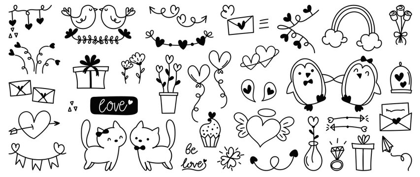 Cute valentines day doodle vector set.  Hand drawn fashion elements for kids. Love and animal , Labels, gift box , heart, arrow, wings, flowers set, cute cat, women, start, plant vector illustration.