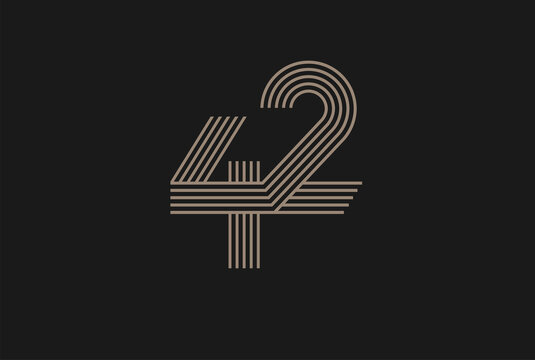 Number 42 Logo, Monogram Number 42 logo multi line style, usable for anniversary and business logos, flat design logo template, vector illustration