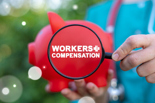 Medical concept of workers compensation. Benefits for medicine personnel of injuries, accidents and illnessess.