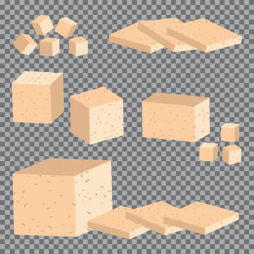 Tofu vector cartoon set isolated on a transparent background.