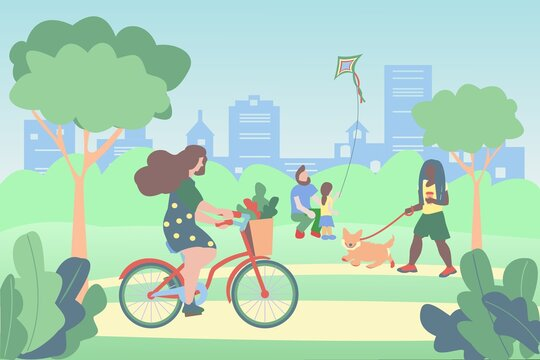 People walking in the park. Girl riding a bake. Dad and daughter are flying a kite. African american girl walking the dog. Flat vector illustration