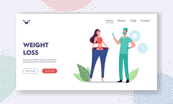 Bariatric Stomach Reducation, Liposuction, Weight Loss Slimming Landing Page Template. Slim Woman Wearing Oversize Pants