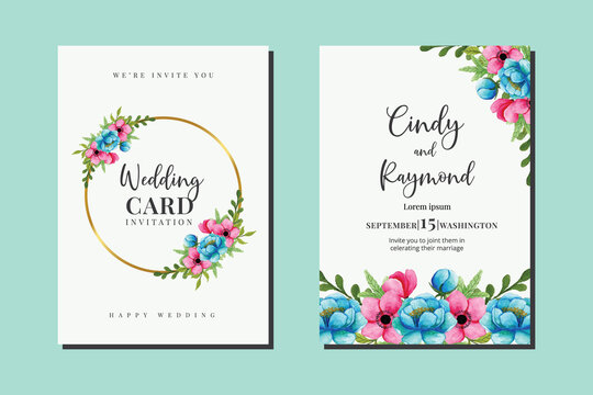 Wedding invitation frame set, floral watercolor hand drawn Peony Flower design Invitation Card Template
