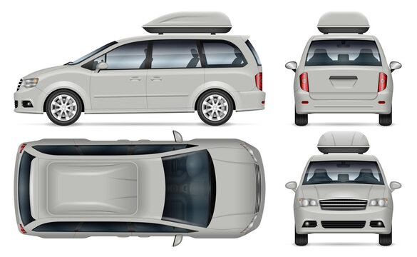 Minivan vector mockup on white background for vehicle branding, corporate identity. View from side, front, back, top. All elements in the groups on separate layers for easy editing and recolor