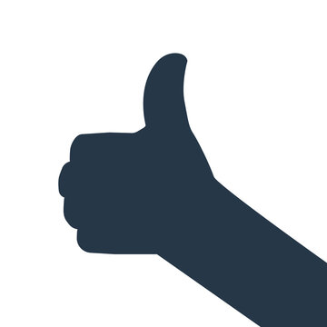 Thumb up silhouette icon. Clipart image isolated on white background