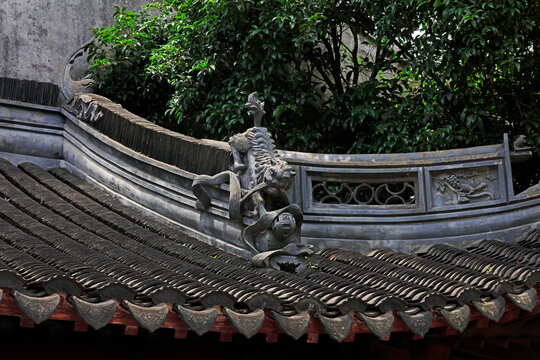 The eaves of ancient buildings are in Yu garden,Shanghai,China