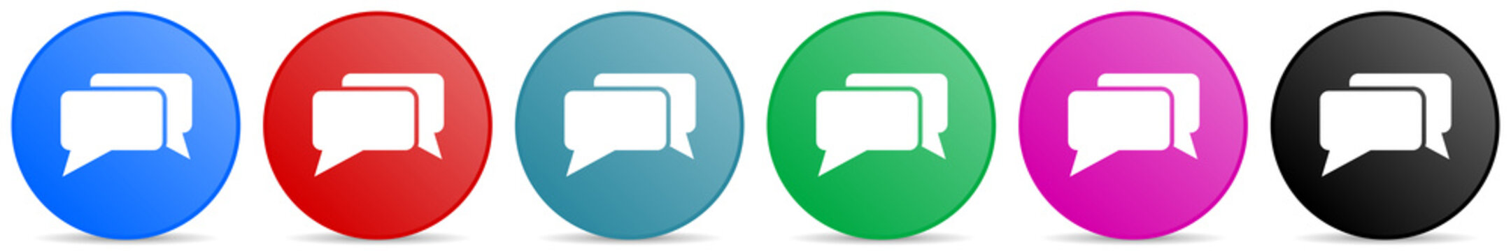Message, bubble, dialog vector icons, set of circle gradient buttons in 6 colors options for webdesign and mobile applications