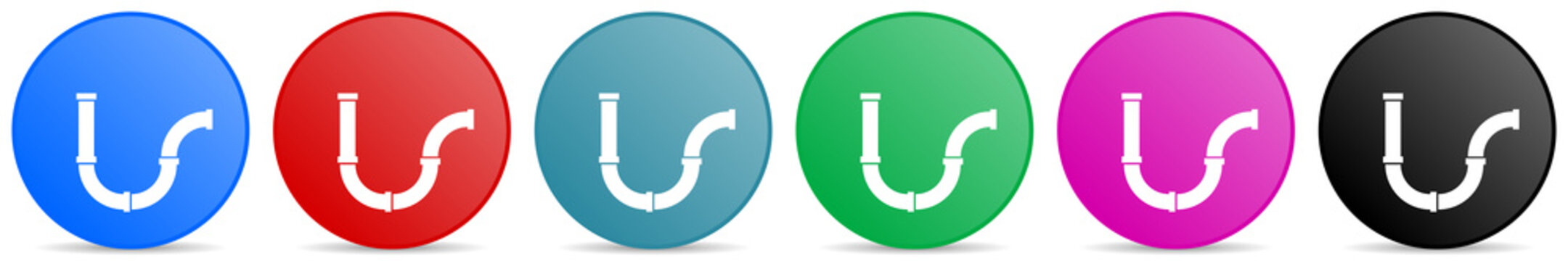 Pipeline, tube, pipe and industrial vector icons, set of circle gradient buttons in 6 colors options for webdesign and mobile applications
