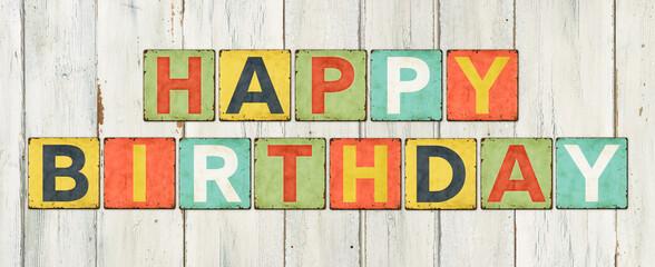 Fototapeta Colorful tin signs - Happy Birthday obraz